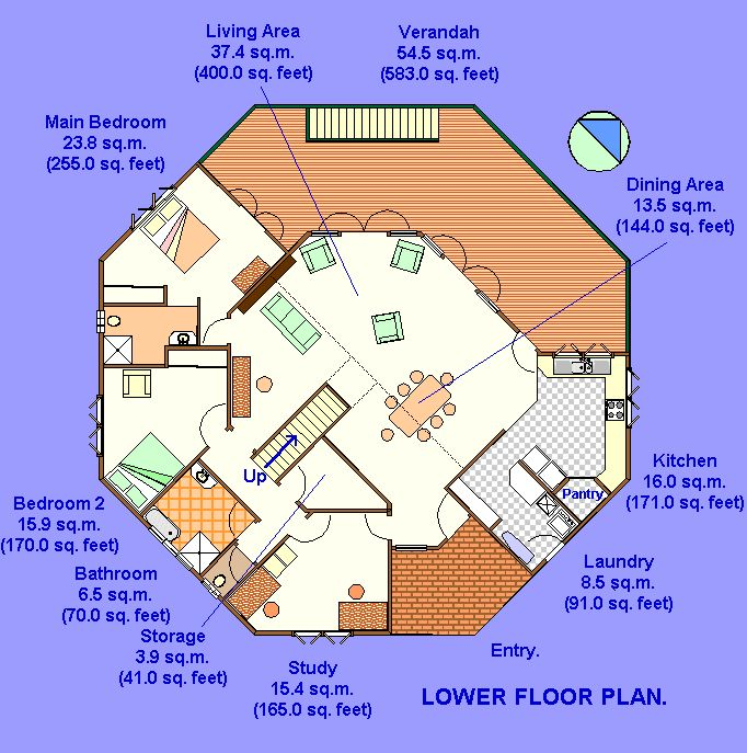 One octagon house floor plans blueprints trend home - Round shaped house designs ...