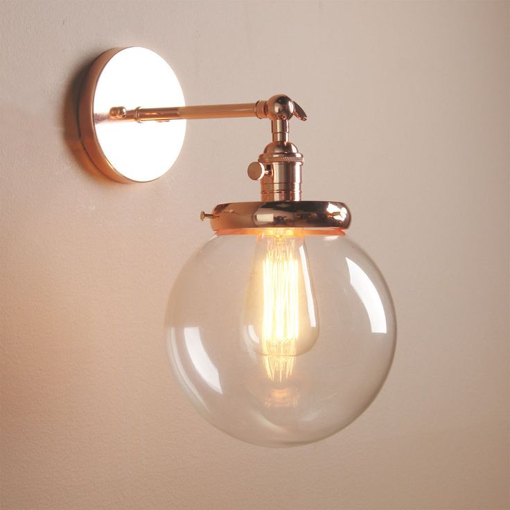 VINTAGE INDUSTRIAL WALL LAMP ANTIQUE SCONCE GLOBE GLASS SHADE LOFT WALL LIGHT in…