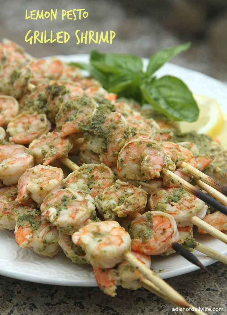Scrumptious Seafood Recipes   Easy Lemon Pesto Grilled Shrimp
