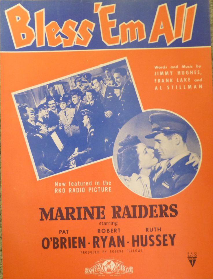 Bless 'Em All, vintage sheet music, Marine Raiders, military sheet music, antique sheet music, cover art Robert Ryan Pat O'Brien Ruth Hussey by landsTreasures on Etsy