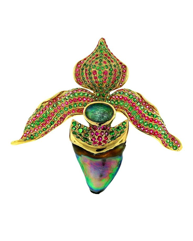 "Paula Crevoshay ""Pink Lady"" gold pendant, set with a natural Abalone pearl, tsavorite garnets, pink spinels, rubies and opals."