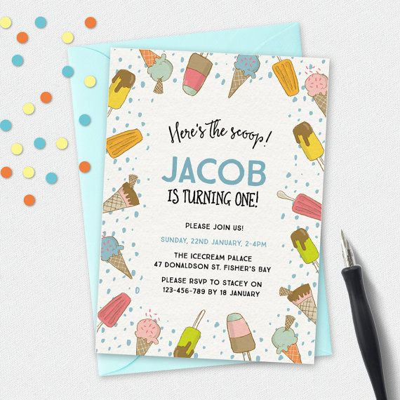 Ice cream invitation, birthday invitation, kids invitation, Custom invitation, party invites, boys invite, 1st birthday, summer theme