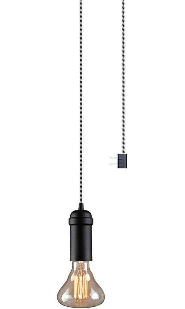 Globe Electric Edison 1-Light Plug-In or Hardwire Hanging Socket Pendant, Matte Black Finish, Black and White Chevron Cord, 65444