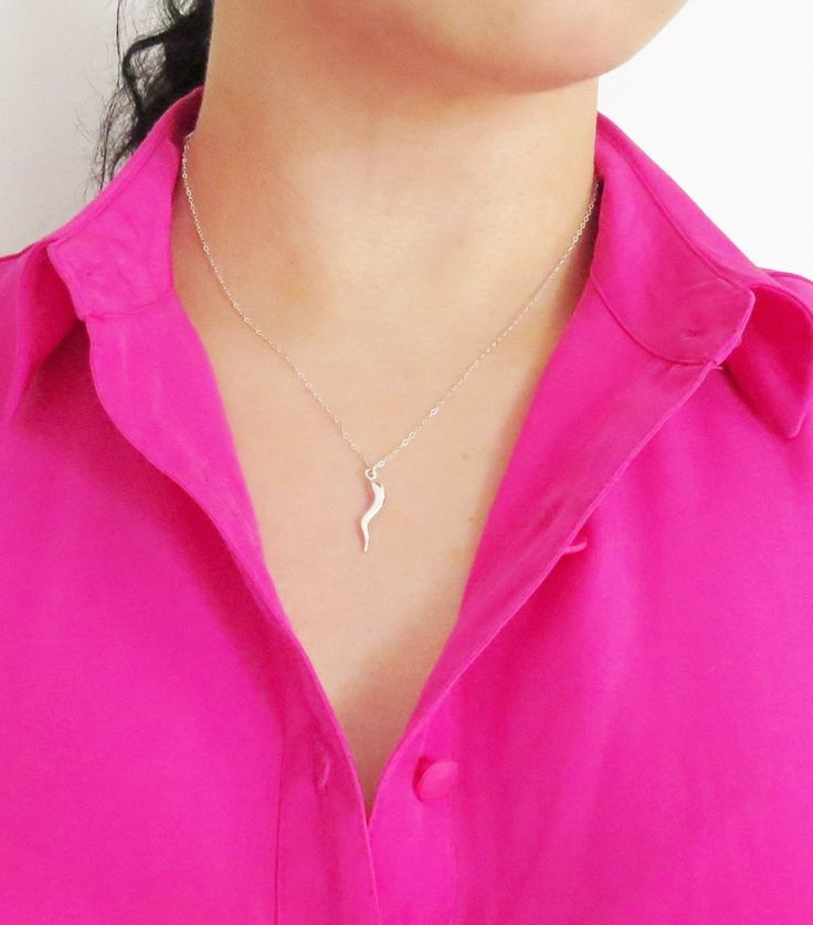 Sterling Silver Italy Horn Necklace, Smooth Italy Horn, Corno Necklace, Amulet Necklace, Lucky Necklace, Cornicello Necklace, Lucky, Charm
