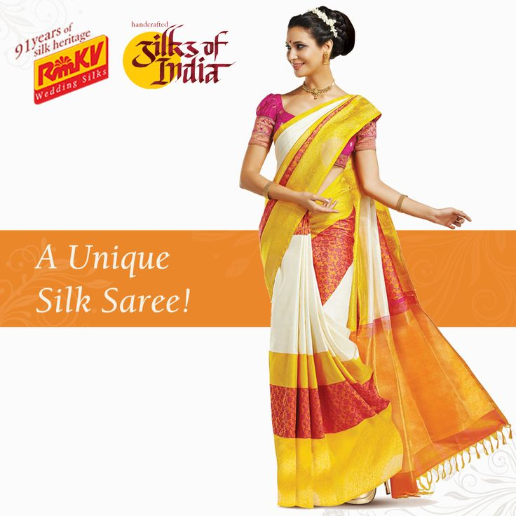 A beautiful combination of unique design and attractive colours, this pure silk saree is lovely piece of art! Large bands of off-white, yellow and pink will make you look bold with a traditional feel! Order this beautiful saree now - https://www.rmkv.com/product/wedding-collections1692-16643