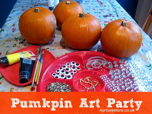 Pumpkin art party! what a fun Halloween idea -- Click to see how neat the decorated pumpkins look