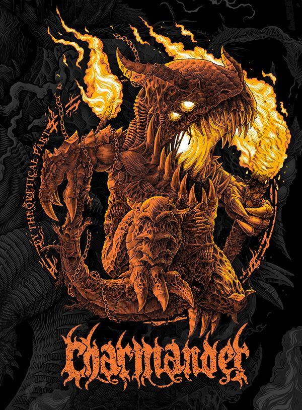 Charmander - demon of hellfire. Pokedemon, pokemon character, fire, burning, creepy art, monster, dark art, death metal / black metal art logo, behemoth, cg, character design, concept art.
