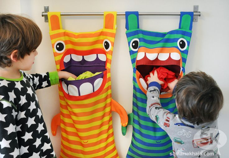 Hungry Monster Laundry Bags. I like the idea of the towel rack/getting the laundry receptacle off the floor.
