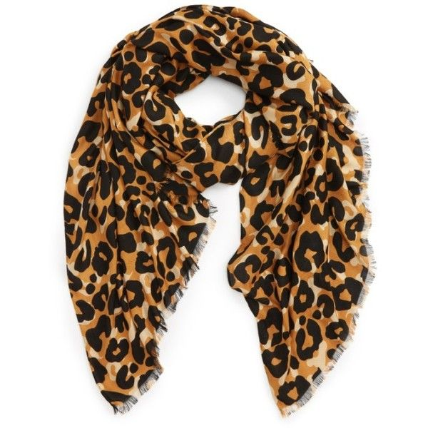 Women's Sole Society Cheetah Print Scarf ($33) ❤ liked on Polyvore featuring accessories, scarves, brown, lightweight shawl, sole society, brown shawl, cheetah scarves and cheetah print scarves