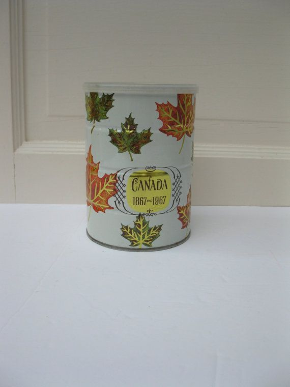 1967 Canada Centennial tin by LuLusFrouFrou on Etsy, $12.00