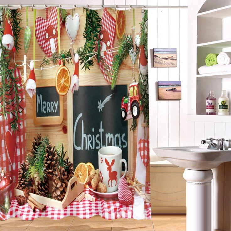 Cheap shower curtain, Buy Quality christmas shower curtain directly from China shower curtain bath Suppliers: MYRU 3D Print Waterproof Christmas Shower Curtains Bath Products Bathroom Decor with Hooks