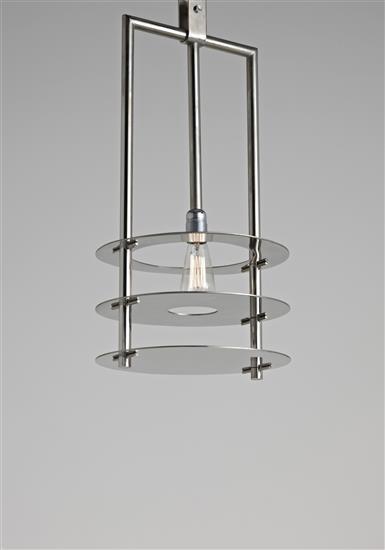 RENÉ HERBST Prototype ceiling light, from the René Herbst residence, Paris, France, 1929  Nickel-plated tubular metal, nickel-plated metal. 26 1/2 in. (67.5 cm.) drop, 13 3/4 in. (35 cm.) diameter