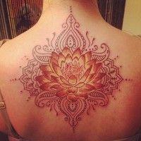 Elegant red lotus tattoo on back for girls