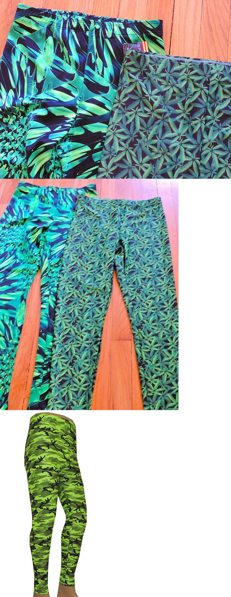Clothing 79796: Lot 2 Medium Wrestling Tights Pot Leaf Abstract Green Festival Edm Cos Play -> BUY IT NOW ONLY: $40 on eBay!
