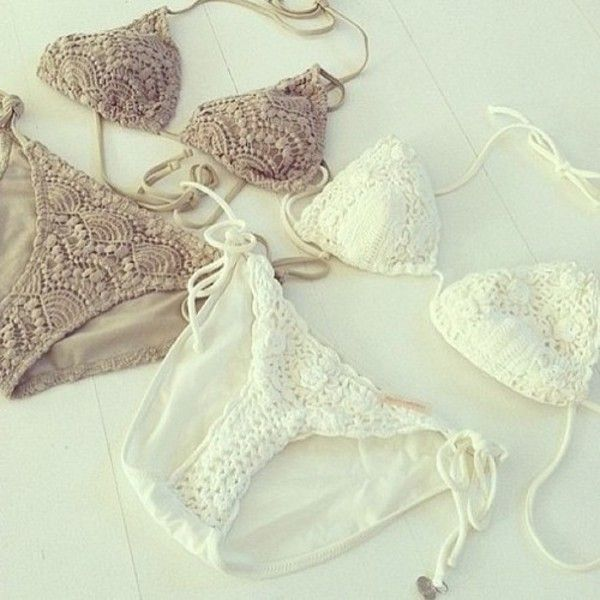 Swimwear: bikini lace summer white brown sea hot sun triangle swim white bikini white lace bikini  IDEA
