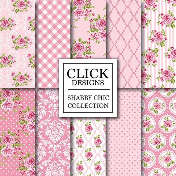"""Shabby Chic Digital Paper: """"SHABBY PINK ROSES"""" Floral scrapbook background, romantic papers with roses, damask for wedding invites, carts"""