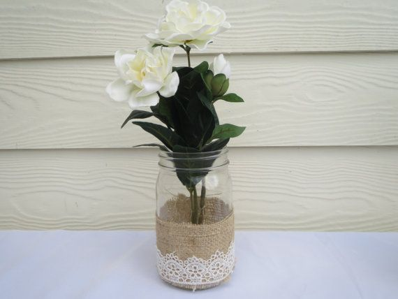 4 Burlap and Lace Mason Jar Wedding Centerpieces by RusticBella