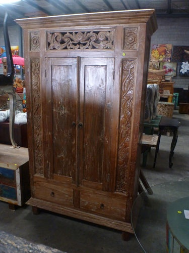 Bali Furniture Recycled Teak Hand Carved Antique Console Linen Cupboard  Dresser