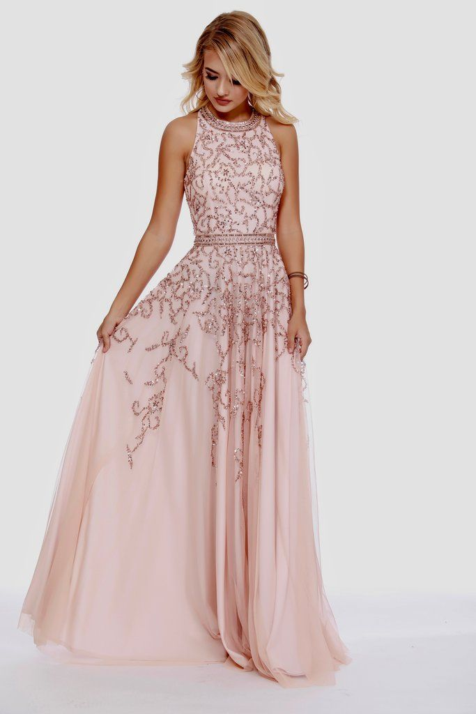 bdca0978f9 High Neck Embellished Rose Gold Belted Fit to Flare Prom Dress 12205 ...
