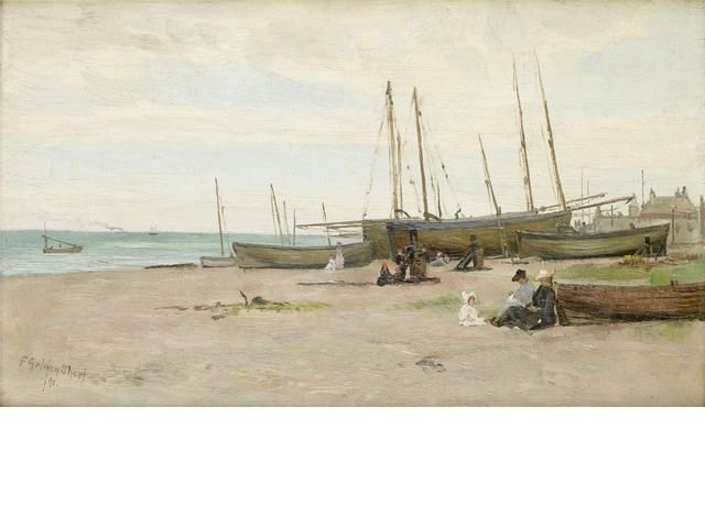 """Frederick Golden Short (British, 1863-1936) """"Deal Luggers at Low Tide"""""""