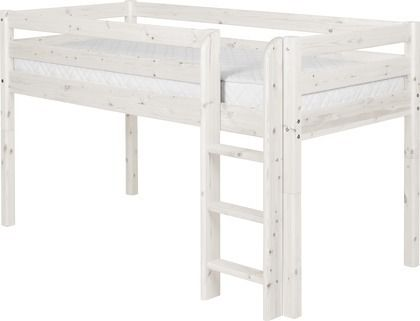 Łóżko średniowysokie Classic krótsze, drabinka prosta, sosna bielona. - FLEXA