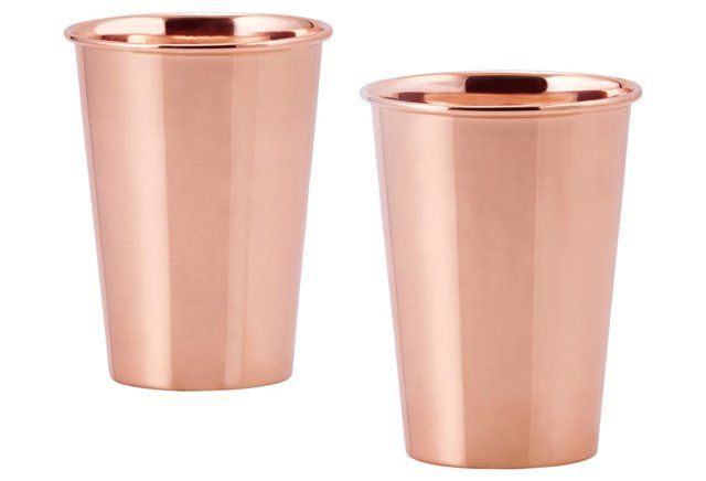 S/2 Solid Copper Flared Tumblers, 12 Oz $25 for 2   One Kings Lane