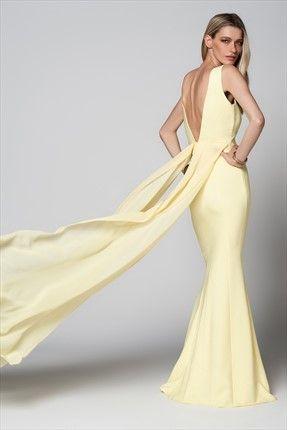 Milla by trendyol · Gece Koleksiyonu - Tül Detaylı Sarı Elbise MLWSS158327 sadece 149,99TL ile Trendyol da