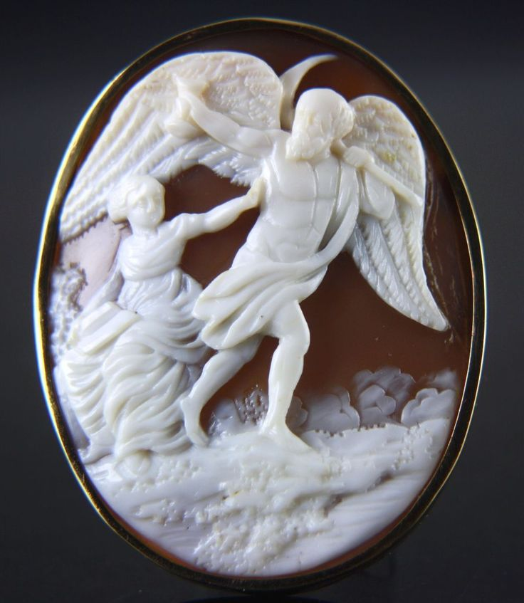 XLarge Victorian cameo brooch of Father Time and a Reading Classy Lady