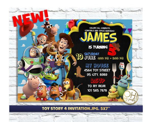 toy story 4 invitation toy story 4