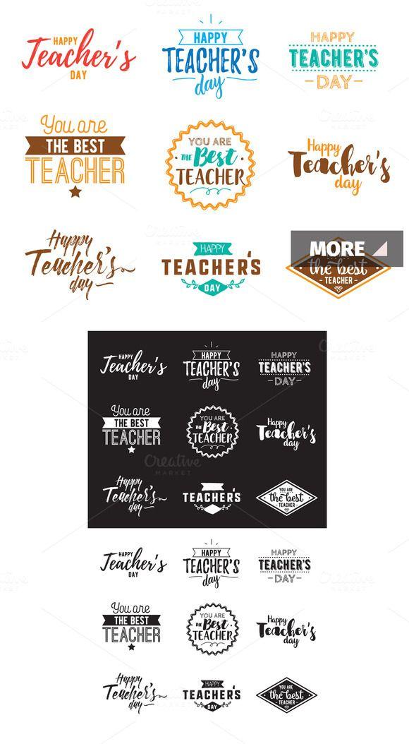 Happy teachers day typography  @creativework247