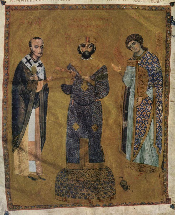 Manuscript illumination of Emperor Nicephorus III Botaniates (1078-81) flanked by St John Chrysostomos and the Archangel Michael