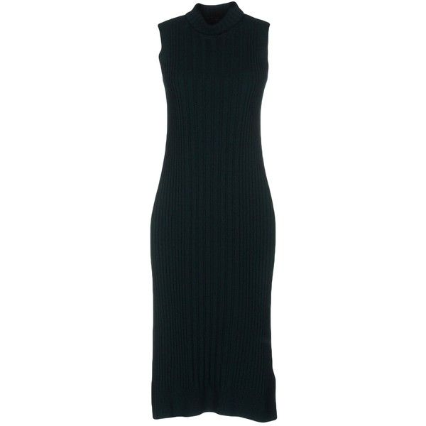 Maison Margiela Knee-length Dress ($210) ❤ liked on Polyvore featuring dresses, deep jade, swing dresses, ribbed turtleneck top, ribbed sleeveless turtleneck, sleeveless turtleneck dresses and ribbed turtleneck