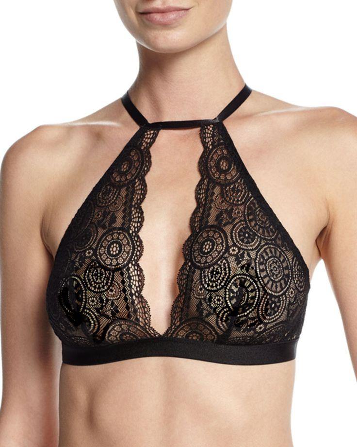 "Cosabella ""Chance"" soft lace bra with scalloped-edge keyhole front. Halter neckline with adjustable hook closure. Thin, adjustable straps. Elasticized band. Hook-eye closure. Nylon/spandex. Hand wash."