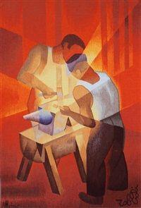 Les deux forgerons by Louis Toffoli