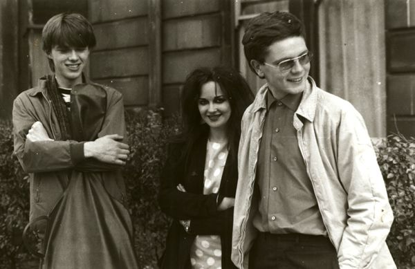 """Head explosion time. Jill from Strawberry Switchblade, Edwyn Collins, Alan Horne. From http://www.strawberryswitchblade.net/ - """"That's outside Postcard Records, I lived round the corner."""""""
