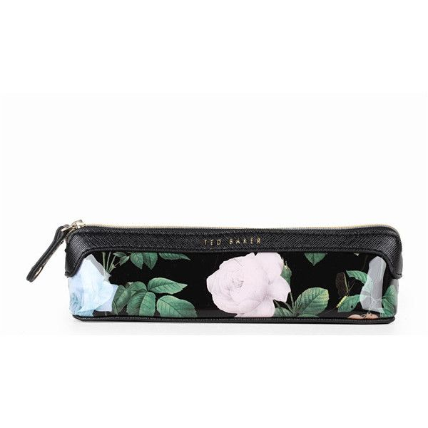 Ted Baker Womens Black Distinguished Rose Pv Pencil Case (39 CAD) ❤ liked on Polyvore featuring home, home decor, office accessories, floral pens, black pencil case, ted baker, black pens and black pencil pouch