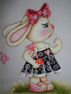 Pintura em tecido - Coelha: