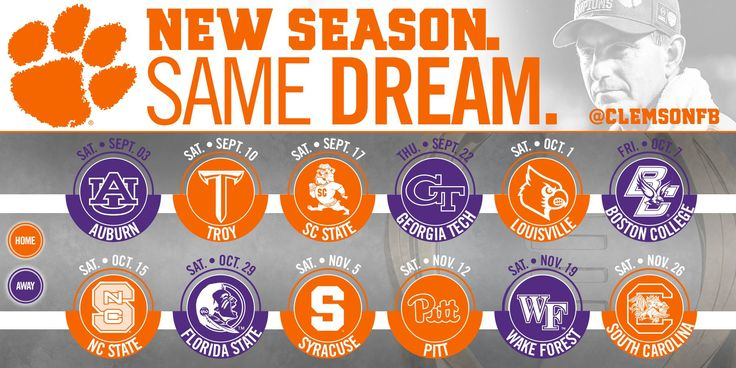 Clemson Football 2016 Schedule - Go Tigers!