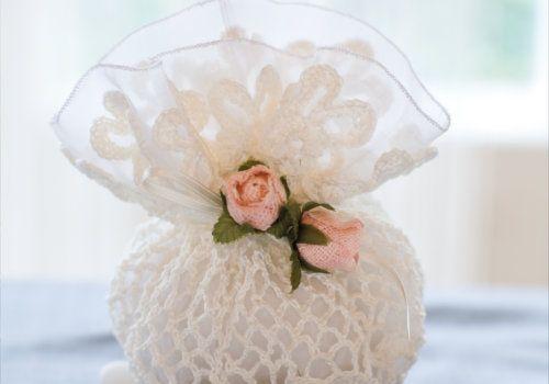Romantic wedding favour bag made with Anchor Artiste Linen