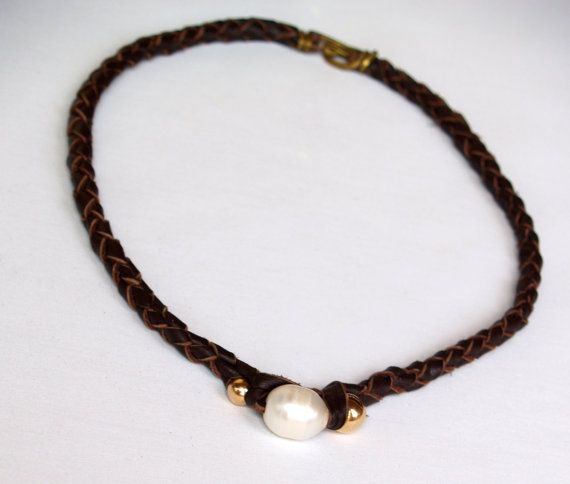 Pearl Leather Necklace by BazaarArtisani on Etsy, $150.00