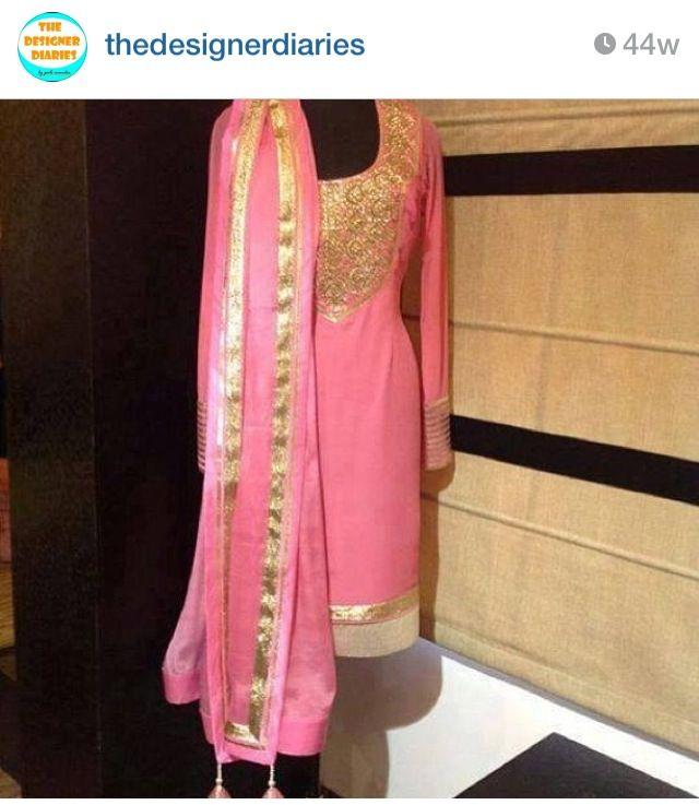 Baby pink n gold punjabi suit