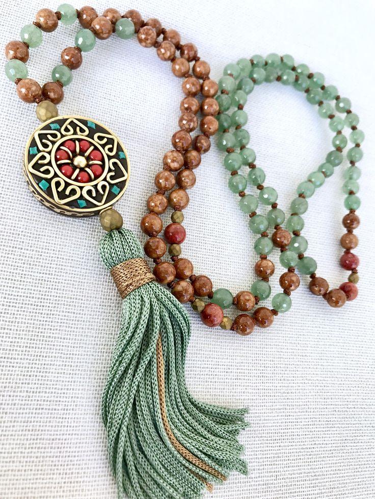 Green aventurine mala necklace brown fossils mala necklace yoga mala meditation necklace flower pendant mala tassel necklace 108 prayer bead by Katiaicrafts on Etsy
