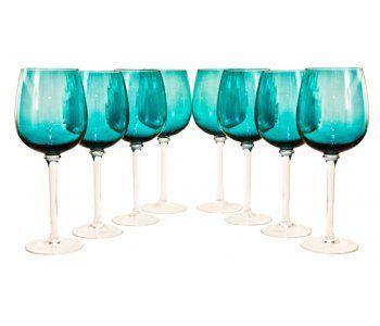 Set of Eight Midcentury Wine Glasses