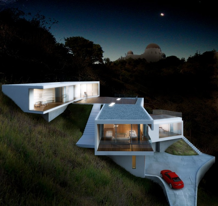 Modern Hollywood Hills #architecture #LosAngeles hillside home overlooking Griffith Observatory