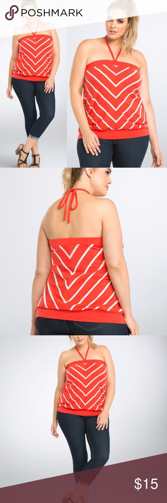 """New TORRID Red/White Striped Halter Tube Top NWT Striped Tube Top  It's a cruel summer; don't be left on your own without a tube top! Cut with a breezy red knit and lined with eye-catching white stripes, the style can be tied into a makeshift halter; either way, your shoulders will stay sunkissed.   Model is 5'10"""", size 1 Size 1 measures 21 1/2' from center front Cotton Wash cold, dry low  Available in sizes: 00 (M/L 10) 