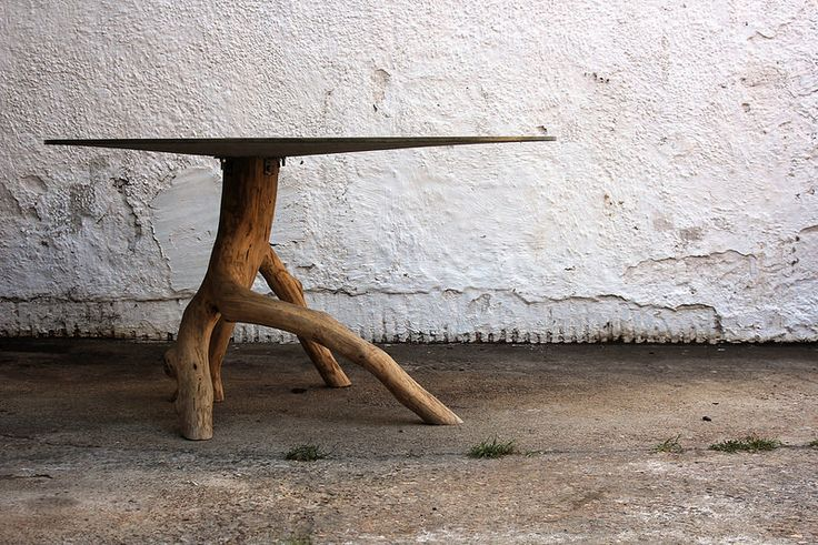 concrete and oak table by Benjamin Turley
