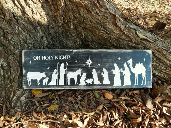 Oh Holy Night, Large Nativity Scene, Religious Sign, Rustic, Wooden sign, Christmas, Nativity, Shabby Chic, Religious Decor, Country Chic
