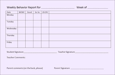 A weekly Behavior form that WORKS! - Tonyas Treats for Teachers