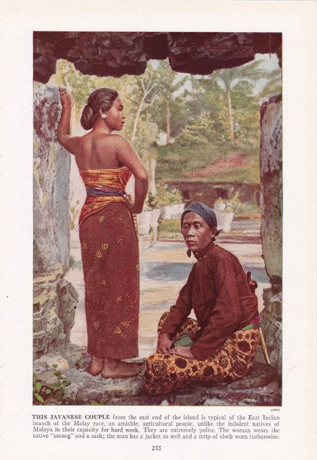 A Javanese Couple......color plate from 1940's book by route44west, $10.00 #Indonesia