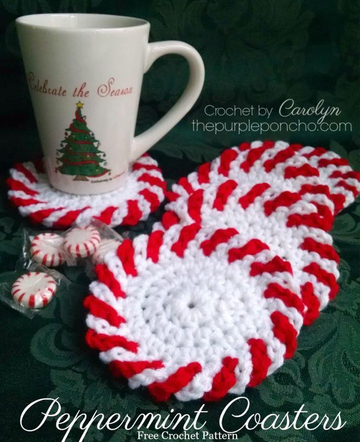 Peppermint Coasters Free Crochet Pattern The Purple Poncho Holiday Crochet Christmas Crochet Patterns Crochet Christmas Decorations